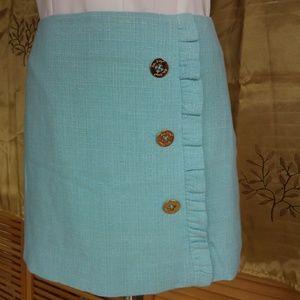 Lilly Pulitzer Aqua Tweed Ruffle Mini Skirt
